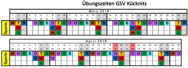 Übungszeiten März-April
